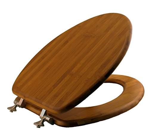 Mayfair 19401NI 568 Solid Bamboo Toilet Seat With Brushed Nickel Hinges,  Elongated, Dark Bamboo