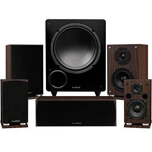 Fluance Elite Series Compact Surround Sound Home Theater 5.1 Channel Speaker System Including Two-Way Bookshelf, Center Channel, Rear Surrounds and a DB10 Subwoofer – Walnut (SX51WC)