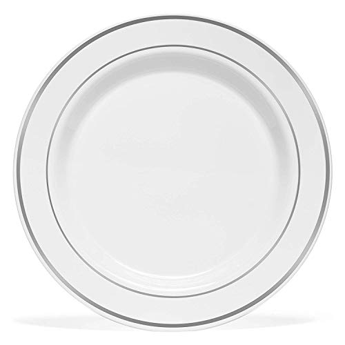 Price comparison product image 50 Plastic Disposable Dinner Plates / 10.25 inches White with Silver Rim Real China Look / Ideal for Weddings,  Parties,  Catering / Heavy Duty & Non Toxic (50-Pack) by BloominGoods