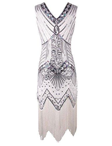 1920 Lustrini Meilun Gatsby Donne Rilievo Vestito Il Ispirato Bianca Delle In Flapper wqtw5ECrZ
