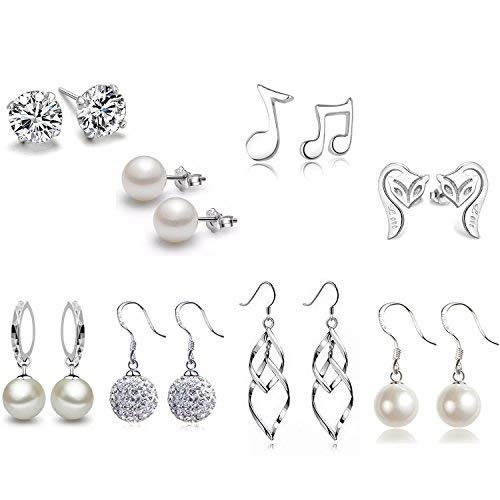 Silver Plated Classic Double Linear Loops Design Twist Wave Earrings Crystal Pearl Fox Musical Notation Stud Earrings Set