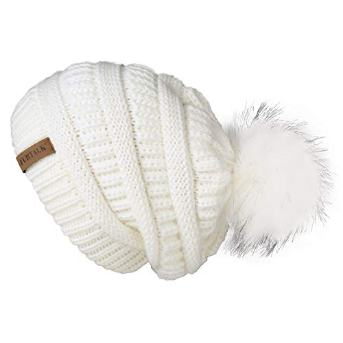 FURTALK Kids Girls Boys Winter Knit Beanie Hats Faux Fur Pom Pom Hat Bobble Ski Cap Toddler Baby Hats 1-6 Years Old