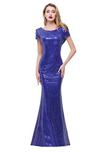 Sparkly Royal Blue Sequined Bridesmaid Dresses Modest Mermaid Long Prom Evening Gowns,10,Royal Blue