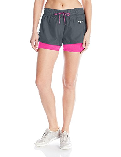 Speedo Women's Hydro Volley Workout Shorts with Built-in Compression Jammer, Lava Grey, Size 12