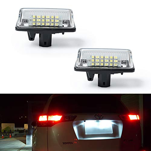 GemPro 2Pcs LED License Plate Light Lamp Assembly for Toyota Crown Alphard Camry Noah Starlet Vios Tarago, Error Free 2W 18 Led White Rear License Tag Lights Rear Number Plate Lamp Direct Replacement -