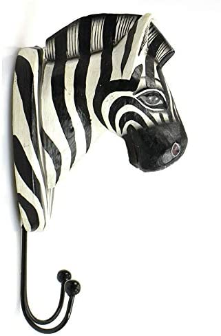 Artisanal Appendiabiti 2/Ganci//Trofeo Parete Testa di Zebra in Legno.