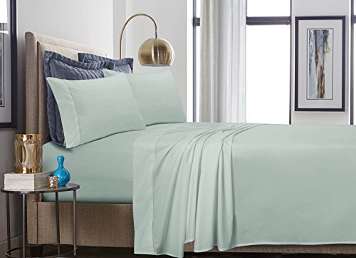 Tribeca Living 500 Thread Count Cotton Percale Extra Deep Pocket Sheet Set King Misty Green