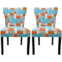 Sole Designs Hop Series Bella Collection Upholstered Modern Dining Chair (Set of 2), Blue/Orange