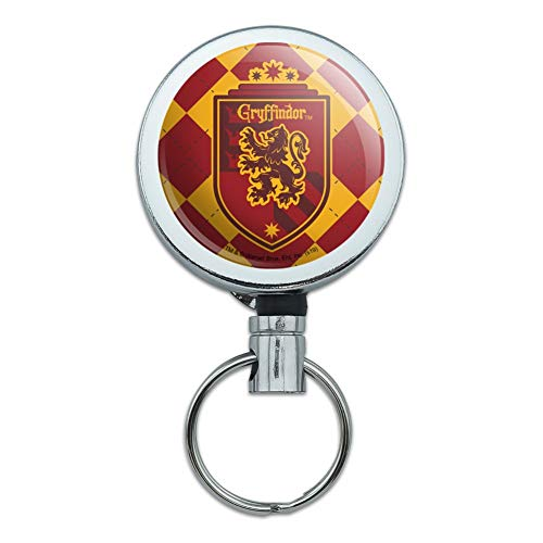 Harry Potter Gryffindor Plaid Sigil Heavy Duty Metal Retractable Reel ID Badge Key Card Tag Holder with Belt Clip (The Keeper Of The Keys Harry Potter)