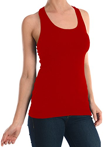 Sofra Women's Tank Top Cotton Ribbed Red Medium