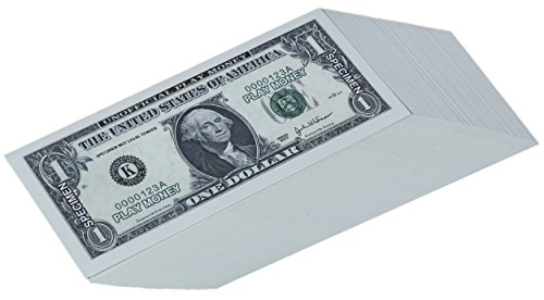 Paper Playing Money - $1 One Dollar Bills Pretend Play Money Set, 100 Count, 5 x 2.5 Inches - Kids Play 5 Note