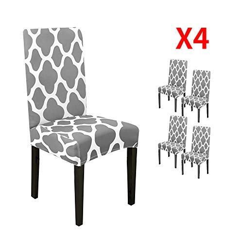 - YIMEIS Stretch Geometric Printed Dining Chair Protector Cover, Removable Washable Short Slipcover for Hotel,Dining Room,Ceremony,Banquet,Wedding (Pack of 4, Grey)