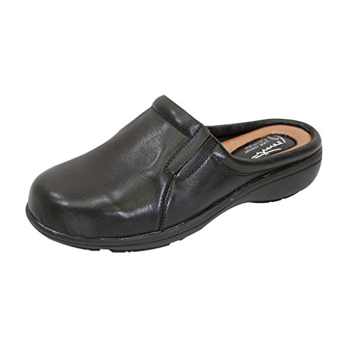 FIC PEERAGE Mary Women Extra Wide Width Comfort Leather Clog BLACK 9