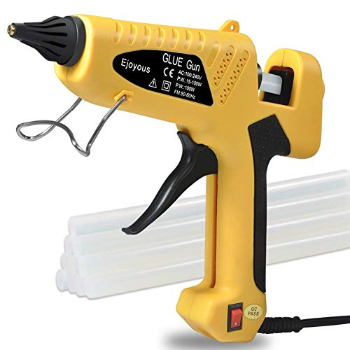 (100W Hot Glue Gun, Ejoyous Professional Industrial Melt Glue Gun Kits with 10 Pcs Glue Sticks, Copper Nozzle and ON-Off Switch for DIY Small Craft Projects & Sealing and Quick Repairs (Yellow))