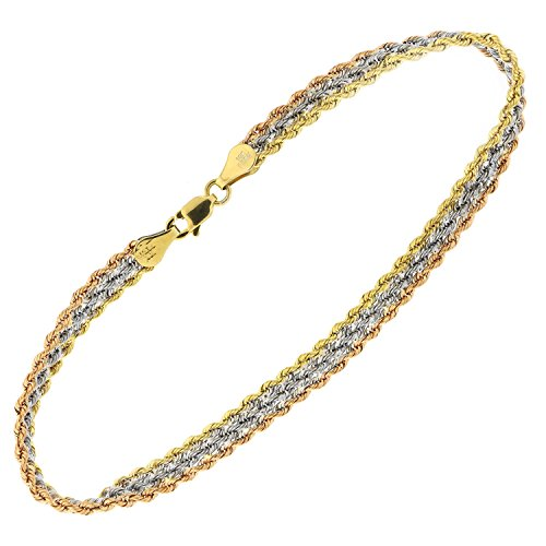 10k Yellow, White and Rose Gold Tri-Color Three Row Rope Chain Bracelet, 7.5