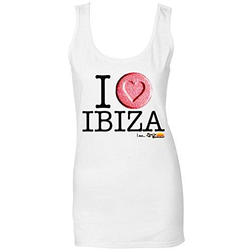 I Love Ibiza: Camiseta de Tirantes Corazón Ibiza Blanco