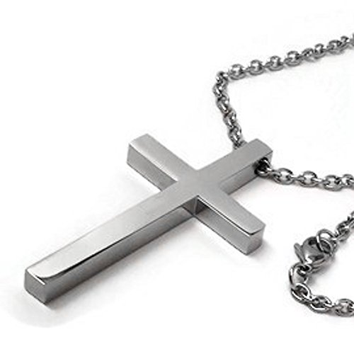 Stainless Large Steel Cross - Large Men's Stainless Steel Cross Pendant 24 Inch 3mm Steel Chain