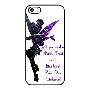 Grouden R Create and Design Phone Case, Tinkerbell Cell Phone Case for iPhone 5 5S SE Black + Tempered Glass Screen Protector (Free) LPC-8031210