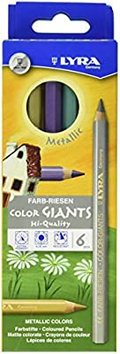 Lyra 3941062 Color Giants Drawing Pencil, Hexagonal, Non-Toxic, 10 mm Diameter x 17.5 cm L, 6.25 mm Tip, Assorted Metallic Color (Pack of 6)