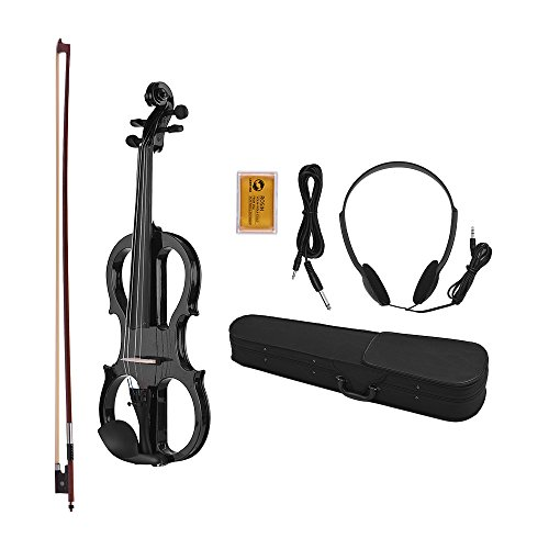 Muslady Violin Kit Set Full Size 4/4 Basswood Electric Fiddle Ebonized Fittings with Headphone Connection Cable Rosin Carry Case by Muslady