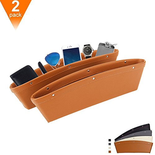 Car Seat PU Leather Console Gap Filler Side Pocket and Catcher Organizer Interior Accessories,Set of 2 - 6 Sunglasses Mazda Holder