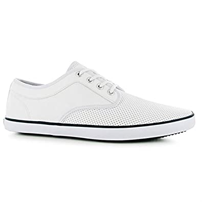 ae55815bfb0c Soviet Mens Bux Vamp Lace Up Casual Shoes Stitched Detailing Perforated  White Navy 7.5