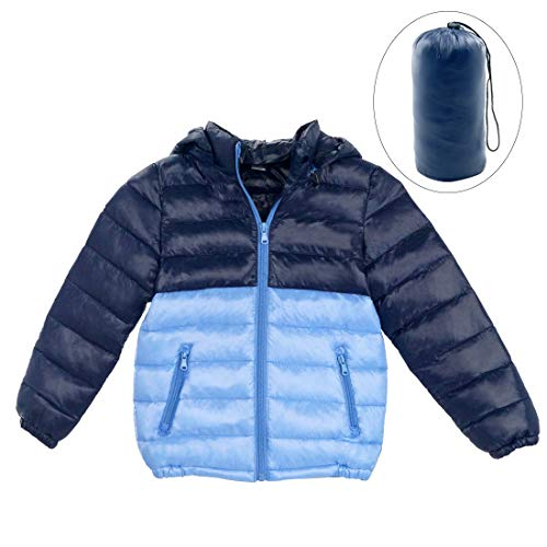 Happy Cherry Boys Winter Down Jacket Winter Warm Hooded Coats Slant Pockets Casual Snowcoat 4-5T Light Blue