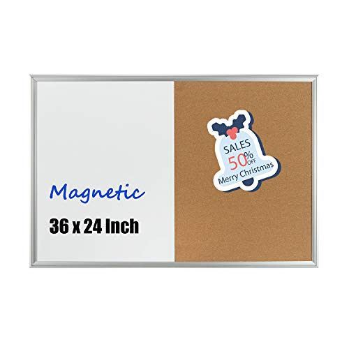 Magnetic Dry Erase and Cork Bulletin Board Combination - 4 Thought 36 x 24 Inches Hanging Wall-Mounted Magnetic Whiteboard & Cork Board Combo with Elegant Aluminium Art Frame, 10 Push Pins Included