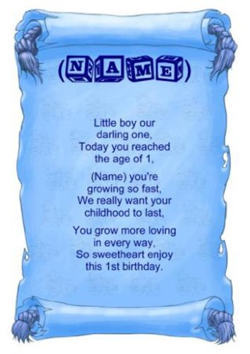 Personalised Poem Baby Boy First Birthday Gift Print Amazoncouk