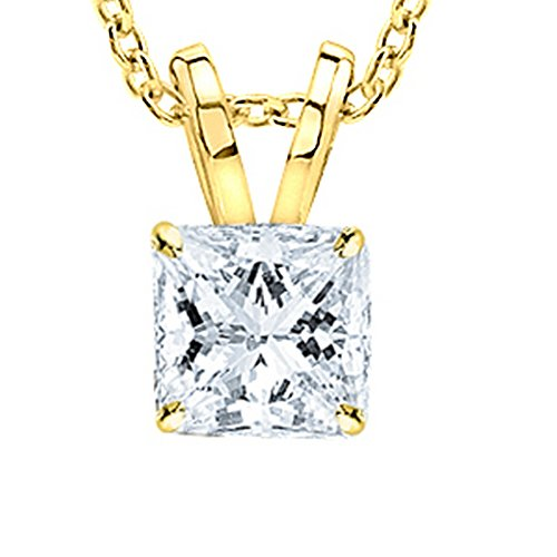 0.3 1/3 Carat 14K Yellow Gold Princess Diamond Solitaire Pendant Necklace 4 Prong I-J Color I1 Clarity by Chandni Jewelers