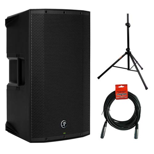 "Mackie Thump12A - 1300W 12"" Powered Loudspeaker Bundle (Single) with Steel Speaker Stand and XLR-XLR Cable"