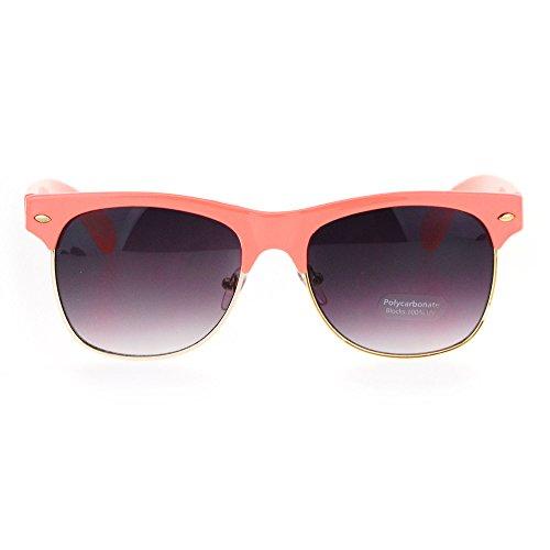 Classic Normcore Half Rim Hipster Horn Rim Sunglasses - Sunglasses Coral