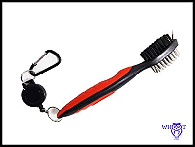 WHOOT Best Heavy Duty Golf Brush and Club Groove Cleaner, 2 Ft. Retractable Zipline Aluminum Carabiner. Easily Attaches to Golf Bag