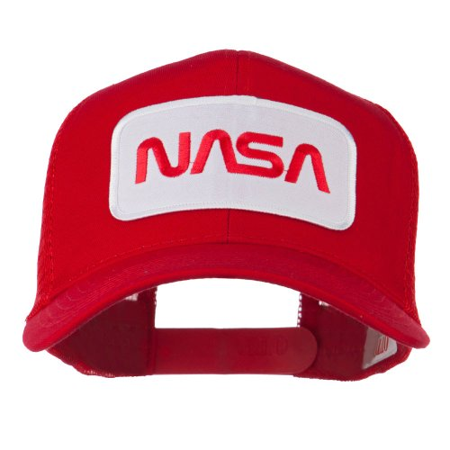 NASA Logo Embroidered Patched Mesh Back Cap - Red OSFM