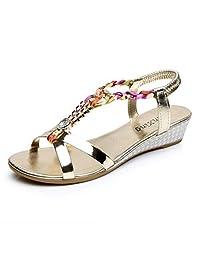 Sumen Summer Wedge Sandals Women Girls Sweet Beaded Casual Beach Shoes