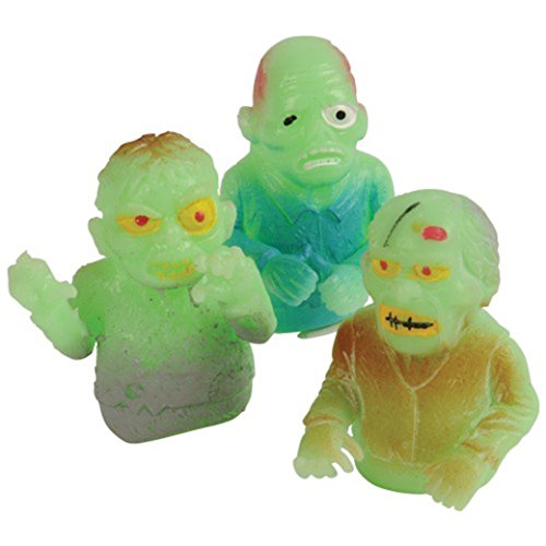 Lot Of 12 Assorted Glow In The Dark Zombie Finger Puppets by US Toy