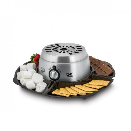 Kalorik 2-in-1 Smores Maker, with Chocolate Treat Fondue Melt Feature, Includes Fork and Tray Set, Stainless Steel (Stainless Fondue Steel Burners Set)