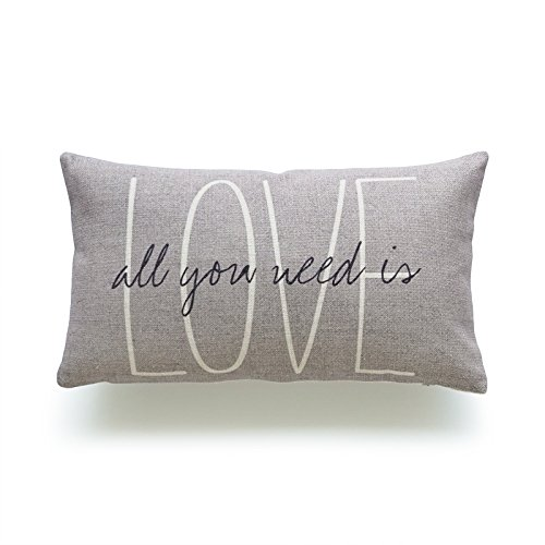Love Throw Pillow - Hofdeco Lumbar Pillow Case Grey Love Is All You Need His and Her Love Script HEAVY WEIGHT FABRIC Cushion Cover 12x20