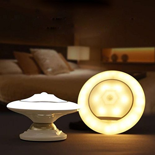 Momoto motion sensor night light portable ufo 360 rotating sensor momoto motion sensor night light portable ufo 360 rotating sensor step led wall light with detachable magnetic holder and wall holder dimmable rechargeable aloadofball Image collections