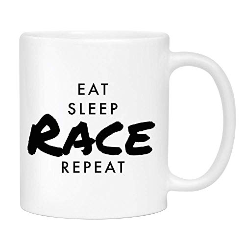 - Eat Sleep Race Coffee Mug - Cute Sarcastic Funny Cup for Men or Women - Unique Fun Gifts for Mom, Dad, Sister, Brother, Best Friend, Him, Her under $20 - Handmade Printed in the USA 11oz