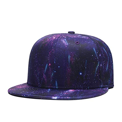 (Purple Galaxy Snapback Hat, Unisex Flat Bill 3D Starry Stars Adjustable Baseball Cap)