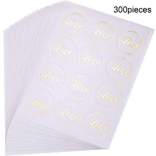 (300 Pieces Love Sticker Wedding Stickers Love Adhesive Label Stickers Envelope Seal Stickers for Scrapbooking Wedding Bridal Shower Invitation Anniversary Party Favors)