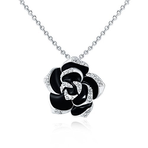 "KEDRIAN 18K White Gold Plated Black Rose Necklace, Elegant Black Flower Necklace For Women, Cubic Zirconia Diamond Rose Necklace, 17"" Chain (White Gold Plated)"