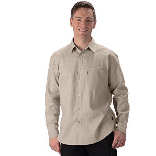 (Effort's Men's Hemp/OC Long Sleeve Dress Shirt Large Oatmeal)