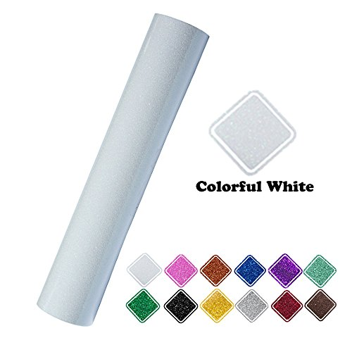 "Heat Transfer Vinyl Roll Glitter Colorful White 9.8""x60"" (0.8x5ft) for T-Shirt Clothing by VINYL FROG"