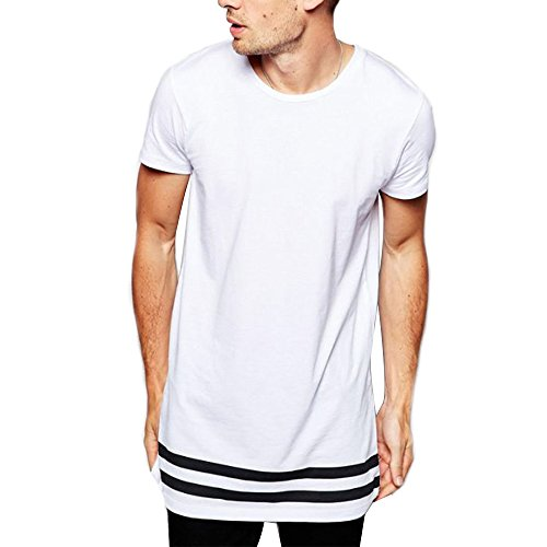 LIWEIKE Men t Shirt Extended Longline Hipster Tshirt with Striped Hem (Large, White) (Hipster Striped)