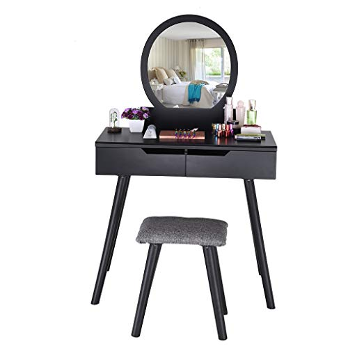 Cuekondy Women Girls Vanity Set with Round Mirror & Cushioned Stool,Bedroom Wood Makeup Dressing Table with 2 Large Sliding Drawers Easy Assembly (Black)