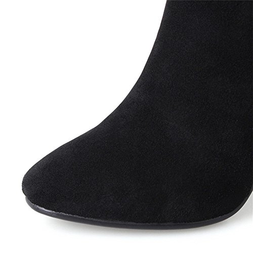 Suede Black Nine Heel Boots Over Chunky Toe The Leather Pointed Comfort Knee Seven Womens Handmade BxqUg1x