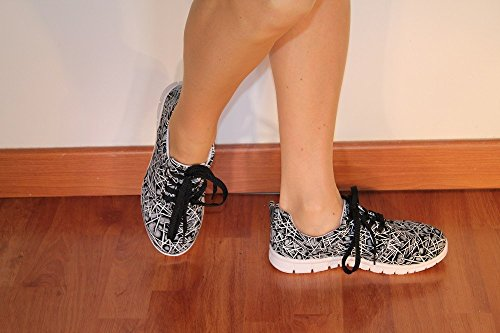 Black Women White Spears Sneakers ChaussMoi Decor w7vWTEZxq