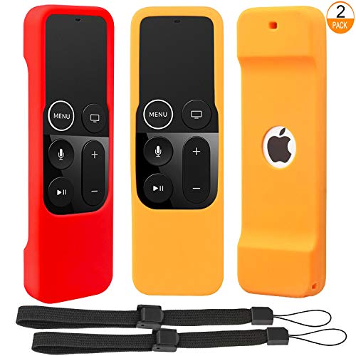 [2 Pack] Anti Slip Remote Protective Case Compatible for Apple TV 4K 4th 5th Generation Siri Remote Controls - Pinowu Silicone Skidproof Shockproof Cover Skin for TV 4 4K Remote (Red + Orange)